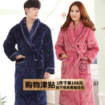 Nightgown male Winter thickening long paragraph coral velvet bathrobe female Winter plus velvet warm padded mens pajamas large size