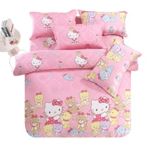Love home Meng home textile cotton cartoon printed sheets four sets of cotton double single bedding sweet baby