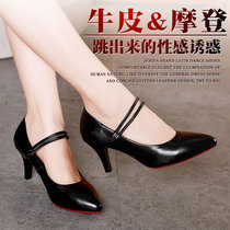 Latin dance shoes female adult Four Seasons high-heeled new dance shoes ballroom square dance shoes leather soft bottom friendship