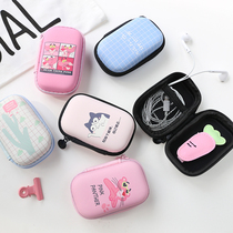 Korean cartoon cute headset storage bag data line Digital Finishing purse hand portable mini storage box