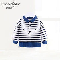 Qi Bear Baby lapel long sleeve shirt baby striped cowboy hit color stitching fake two shirts 2019 spring