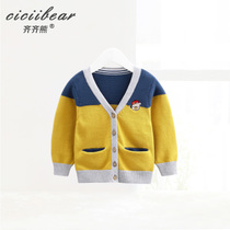 Qi Bear Infants spring clothes cotton cardigan Jacket 0-1-3 year old male and female baby V-collar knitted sweater