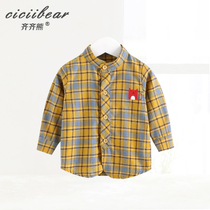 Qi Bear Baby cotton long sleeve plaid shirt spring 2019 new baby clothes vertical collar striped shirt