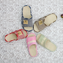 Four seasons indoor air-conditioning room cotton linen couple home wooden floor slippers can be machine wash guests with breathable slippers.