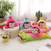 Cartoon sausage monkey 0-1-3-6-year-old children baby pillow buckwheat skin pillow cotton pillow to send cotton inner sleeve