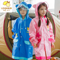 Korean childrens raincoats boys and girls raincoats breathable and tasteless children baby poncho with schoolbag students raincoats