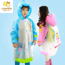 Korean childrens raincoats boys and girls raincoats with a bag child poncho students raincoats inflatable brim