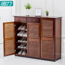 Shoe cabinet simple modern hall cabinet multi-function Living Room Shoes storage cabinet solid wood porch with door shoe rack storage