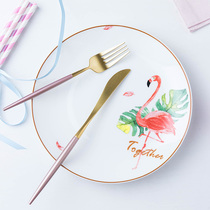 Creative Flamingo tableware Nordic plate ceramic ins dish home western steak plate personality dish red plate