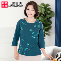 Di Kwai na middle-aged womens wear 2019 spring dress new middle-aged top mother embroidered cotton t-shirt WD8056