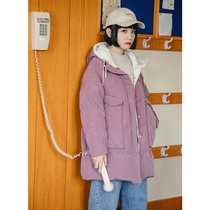 omont Egg Tart home retro loose Hooded Down Jacket female long section raglan sleeve coat coat warm winter