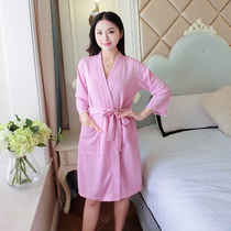 Thin section Waffle bathrobe female long section water absorption beauty SPA nightgown summer spring and autumn sexy bathrobe pajamas