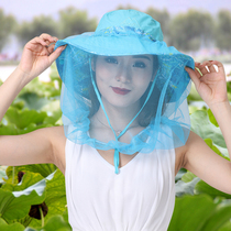 With a veil hat summer protection cycling mask cap cover Face outdoor fishing cap anti-UV Sunscreen large cap