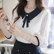 Doll collar lace shirt autumn 2019 new long-sleeved chiffon shirt female fight color bow was thin wild