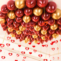 Gem red balloon decoration wedding room layout wedding pomegranate red balloon birthday wedding scene layout supplies