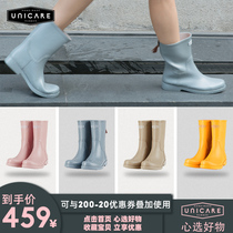 UNICARE spring and autumn Europe and the United States in the tube rain boots female adult non-slip rain boots water shoes female waterproof rain boots fashion shoes