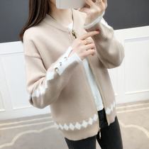 Knitted jacket female 2019 autumn new short paragraph loose knit cardigan Korean wild baseball tide
