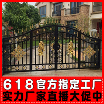 European-style iron gate courtyard door iron gate villa door iron gate garden door galvanized double open door