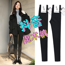 Magic black plus velvet leggings pants outside wear autumn and winter black pants feet 2019 new high waist was thin thickening