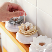 Creative exquisite lotus shape cotton swab box toothpick storage with cotton swab holder portable cotton swab tube