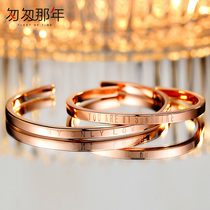 999 sterling silver couple bracelet a pair of men and women minority design ins foot silver bracelet rose gold Korean bracelet dw