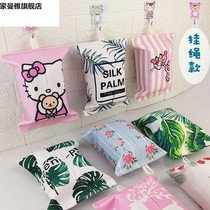 Tissue bag fabric hanging living room home Nordic ins paper towel package car storage paper towel set cute tissue box