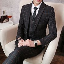 New suit male Inverness wind Korean version slimming set business casual wedding suit dress small Code mens Tide