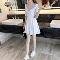 Spring 2019 summer a word skirt small fresh Korean womens temperament waist white female skirt summer dress