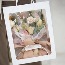 ins net red window tote bag gift bag translucent small bouquet bag bouquet wrapping handbag window bag.