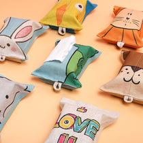 Korean Cartoon cotton hemp towel box fabric animal tissue set paper towel bag Household Car Office drawing paper Bag