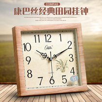 Compaq seat clock living room wall clock mute clock hanging table pastoral creative quartz clock Fashion Modern Electronic desk clock