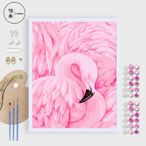 Classic DIY digital oil painting bedroom living room wedding gift flamingo coloring hand-painted large paint decorative painting
