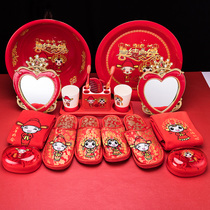 Pick up brocade wedding supplies wedding suit Chinese bride wedding bundle female party red washbasin wedding package