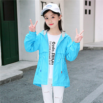 Children spring and summer thin section girls coat 2019 Korean version of the new style girls long windbreaker childrens clothing shirt