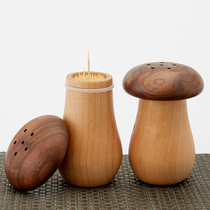 Black walnut wood mushroom toothpick box Japanese Nordic restaurant hotel toothpick tube Wood Wood Bed and breakfast toothpick pot