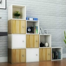 Kindergarten desktop finishing cabinet simple table storage cabinet solid wood storage small cabinet with door storage grid cabinet