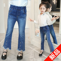 Girls jeans spring and autumn 2019 new Korean children's micro-flared pants children's pants children's trousers casual pants