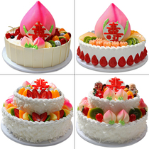 Cake model simulation 2018 new creative European fruit longevity peach birthday double cake model
