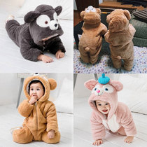 Baby Children Baby anti-kicking cool animal clothing Siamese pajamas clothing women autumn and winter 1 year old Coral velvet male flange