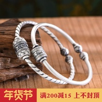 S999 silver bracelet retro six-word mantra can turn personality Mori men and women bracelets Lotus opening couple bracelets