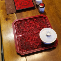 Large lacquer carving red lacquerer antique carving Ming Jiajing Shuanglong-printed Kwaikou tea plate tea sea 25 x 25 cm.