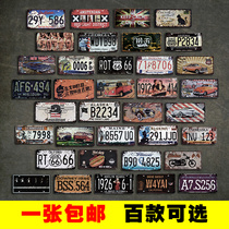 Creative Retro tin painting license plate wall American decorative net Curry restaurant barbecue shop wall personality hanging Jewelry