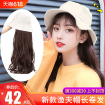 Wig female long hair hat long curly hair red fisherman hat wig one female summer fashion natural full head cover