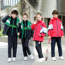 Childrens Stormwear school uniforms three sets of autumn and Winter new teacher clothing plus velvet thickened kindergarten garden clothing