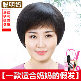 Middle-aged elderly wig lady realistic mother short hair old man short straight hair chemotherapy wig hair set