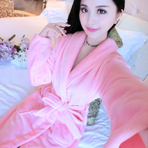 Bathrobe Robe Pajamas bathrobe female Autumn winter thickening sexy flannel long sleeve cute coral velvet home suit