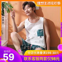 Pajamas mens summer cotton vest teen sleeveless large size cotton cartoon thin summer home service suits
