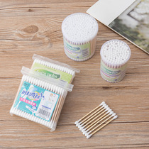 100 soft bag wooden stick double-headed cotton swab ear health cotton stick disposable cosmetic cotton swab