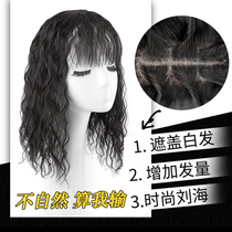 Simulation hair head reissue fake bangs natural long hair corn hot wigs cover white hair cover no trace