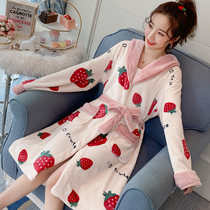 Coral fleece nightgown women autumn and winter long thick flannel bathrobe can wear a nightgown net red cute